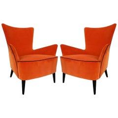 Pair of Mid-Century Modern Italian High Back Armchairs with New Orange Velvet