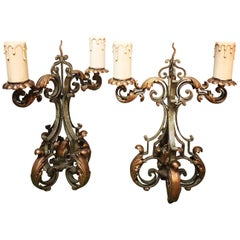 Pair of French Forged Iron Candelabra