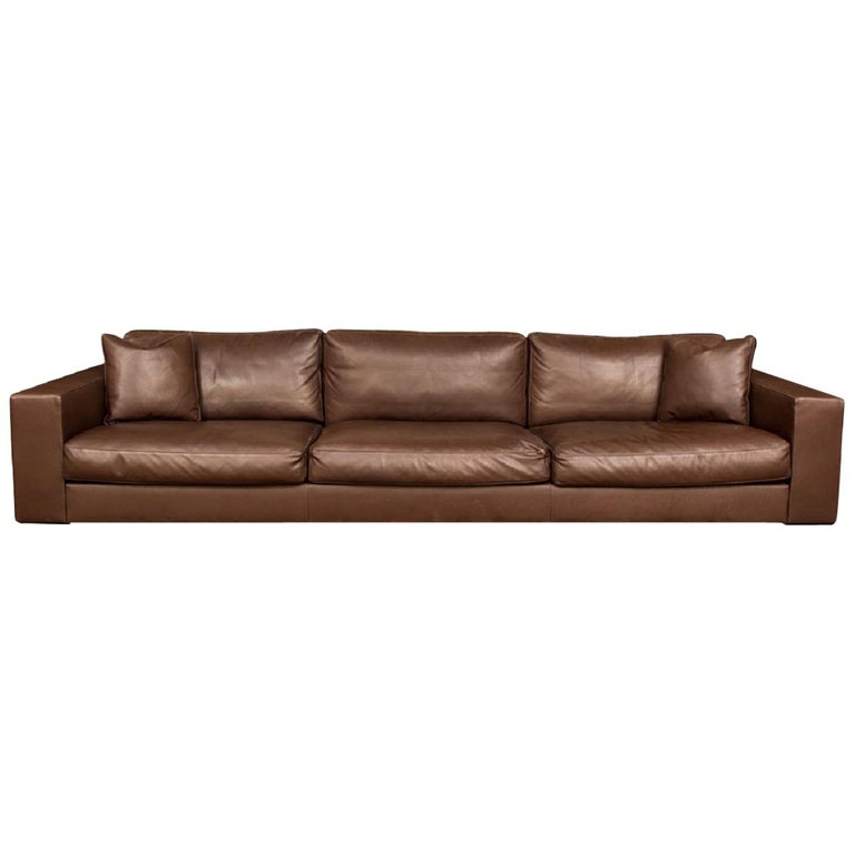 Fine Quality Brown Leather Sofa by Rivolta, Italy