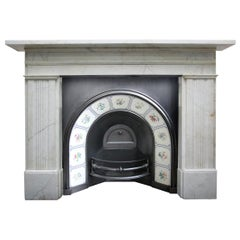 Large Antique 19th Century Victorian White Marble Fireplace Surround