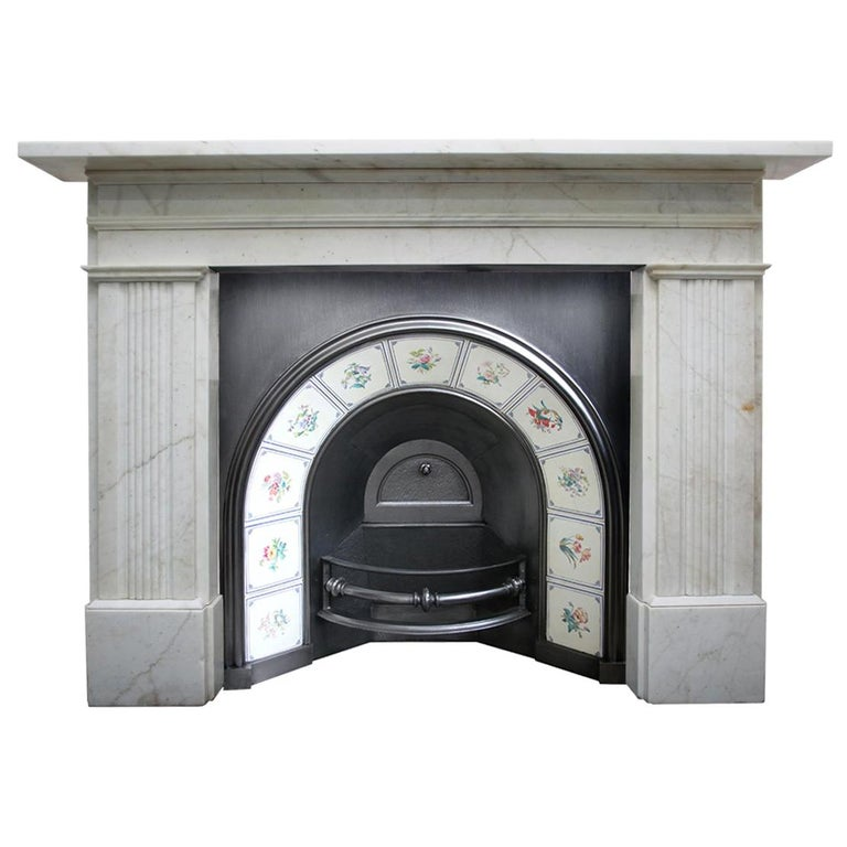 Large Antique 19th Century Victorian White Marble Fireplace Surround For Sale