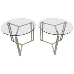 Pair of Glass and Steel Round End Tables