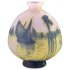 Signed Cristallerie de Pantin Devez French Cameo Art Glass Vase