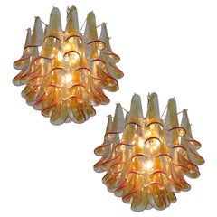 Pair of Murano Glass Amber Petals Chandelier by Mazzega, 1970s
