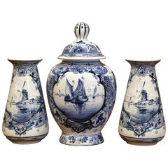 Early 20th Century Dutch Blue and White Maastricht Delft Mantel Three-Piece Set