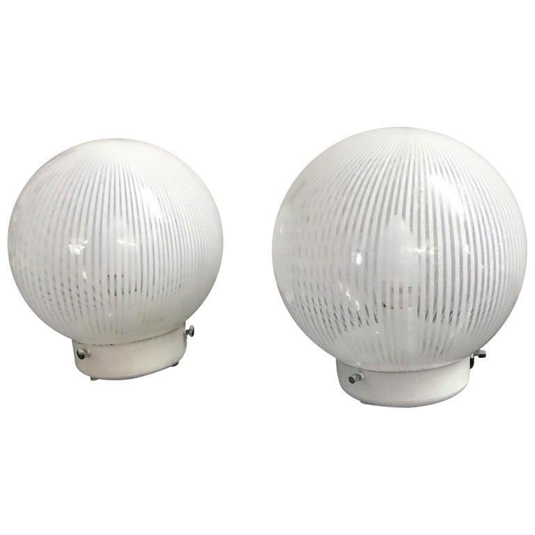 "Mid-Century Modern Pair of Venini Table Lamps ""Tesutto"" Murano Glass, circa 1970 For Sale"
