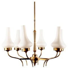 Stilnovo Midcentury Brass and Murano Glass Chandelier, Italy, 1950s