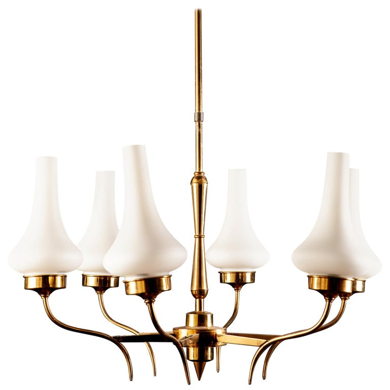 Stilnovo Attributed Brass and Murano Glass Chandelier, Italy, 1960s For Sale
