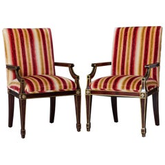 Pair of Regency Style Fauteuils with Gild Elements and Striped Velvet Upholstery