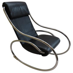 1970s Chrome and Black Leather Sculptural Rocking Chair by Heals