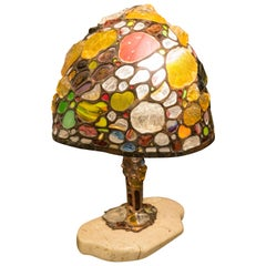 Tiffany Style Table Lamp, Colored Glass and Leaded in Copper, Marble, Signed