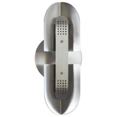 Fold Sconce with Perforated Detail in Satin Nickel by Simon Johns