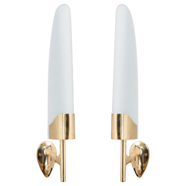 Max Ingrand for Fontana Arte Long Sculptural Brass and Glass Sconces Italy 1950s For Sale