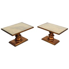 Pair of Hollywood Regency Style Glass Top End Tables