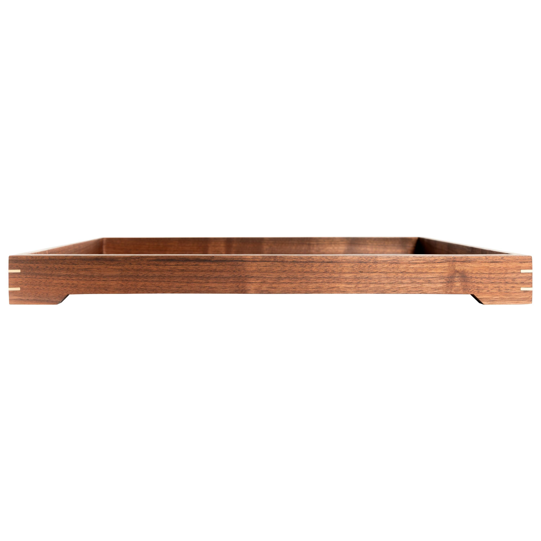 Walnut Wood and Brass Serving or Barware Tray by Alabama Sawyer