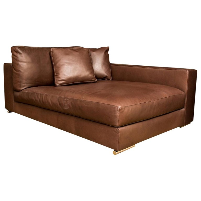 Fine Quality Large Scale Brown Leather Lounge by Rivolta, Italy