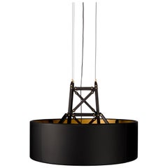 Moooi Construction Pendant Lamp Large in Matt Black and Wood with Brass Details
