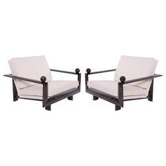 Cerused Oak Marble and Upholstered Lounge Chairs