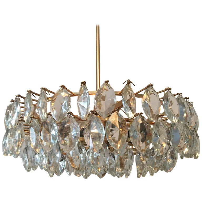 Austrian Gilded Five-Tiered Bakalowits Style Crystal Chandelier, 1970s 1