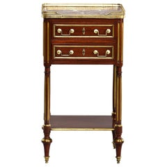 Louis XVI Style Mahogany Side Cabinet with Marble and Brass
