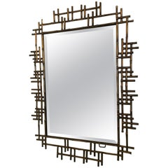 One Pair of Gilt Metal Brutalist Mirrors, Great Usable Scale, Priced Per Mirror