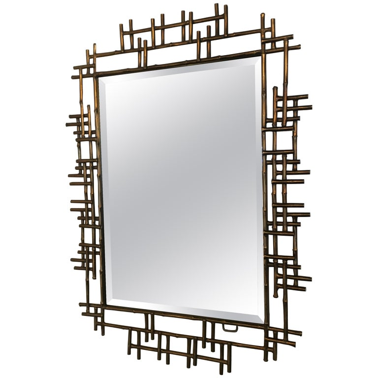 One Pair of Gilt Metal Brutalist Mirrors, Great Usable Scale, Priced Per Mirror For Sale