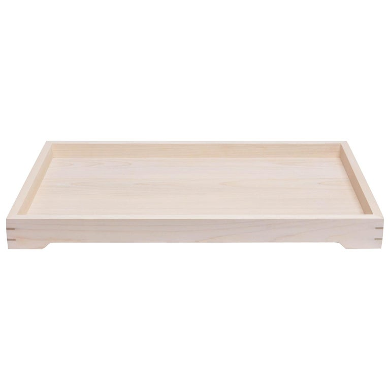White Magnolia Wood and Brass Tray for Barware or display by Alabama Sawyer For Sale