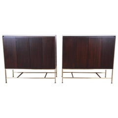 Paul McCobb Irwin Collection Mahogany and Brass Sideboard Cabinets