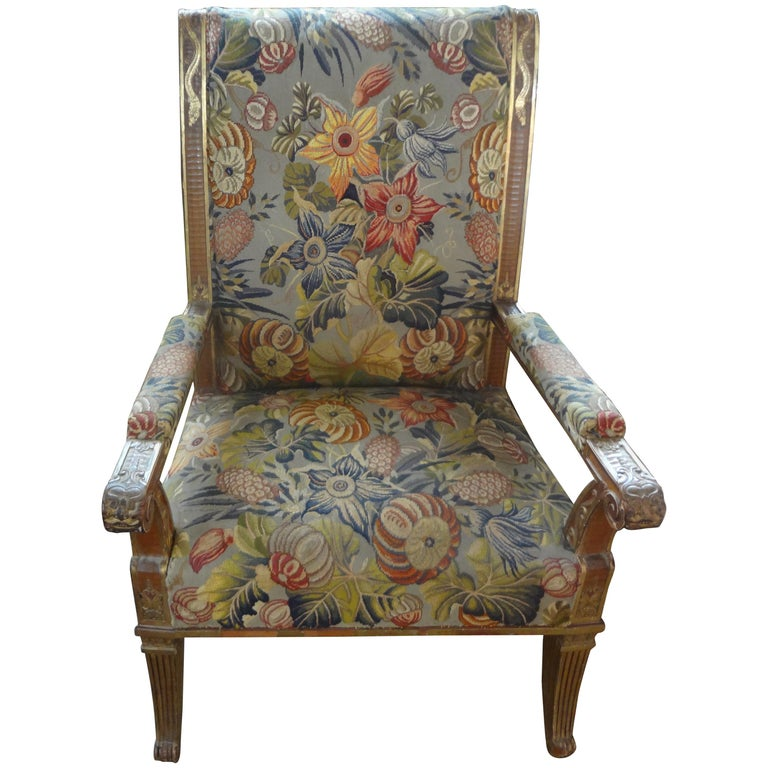 19th Century French Louis XVI Style Giltwood Chair For Sale