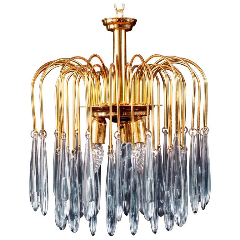 Murano Glass Aquamarine Drops Brass Frame Chandelier Venini, 1970s For Sale