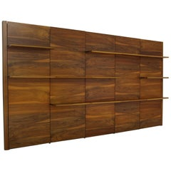 Beautiful 1960s Walnut Wall Unit, Modular Shelving, Shelf, Germany, Midcentury