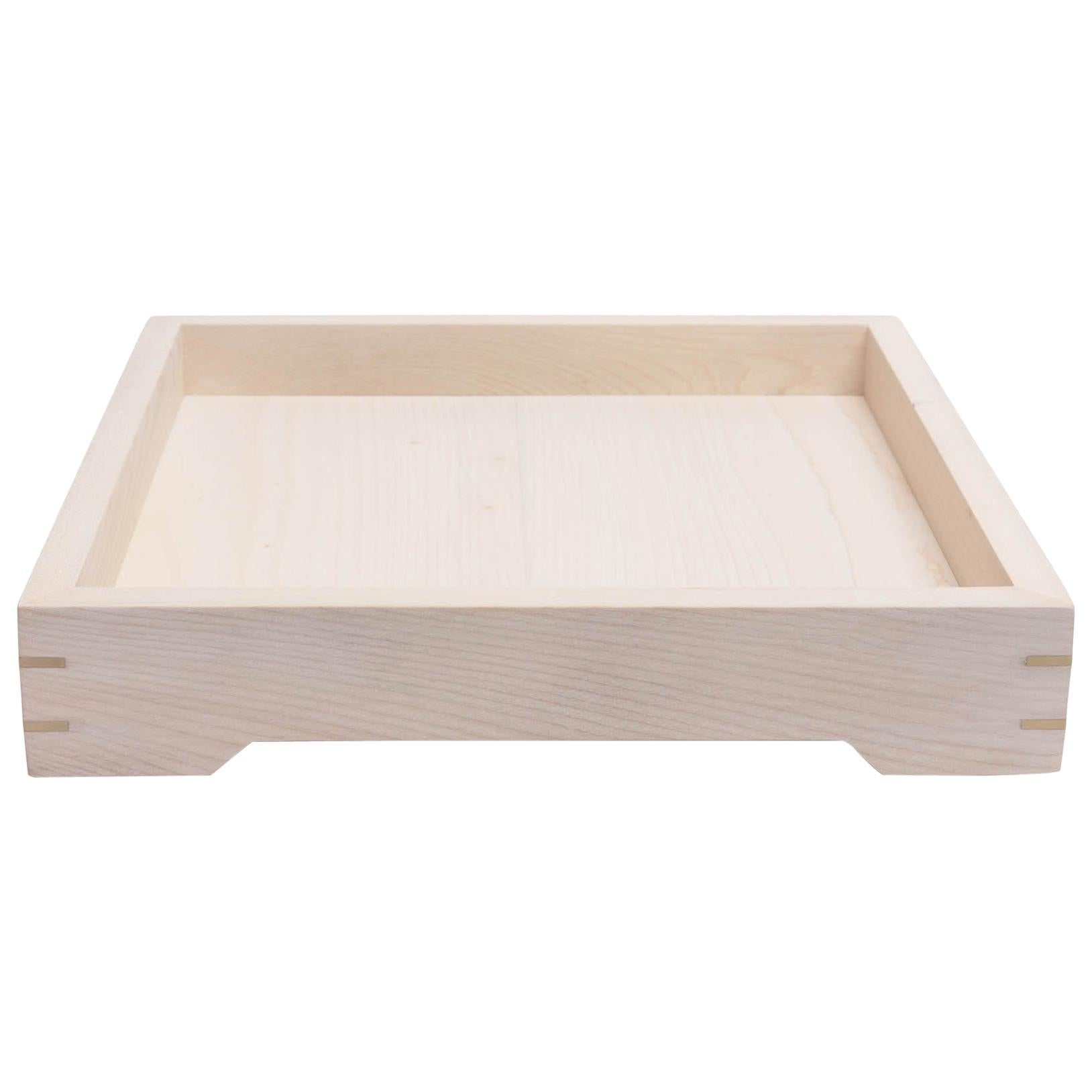 White Magnolia Wood and Brass Small Serving Tray by Alabama Sawyer
