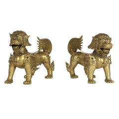 Pair of Chinese Standing Foo Dogs