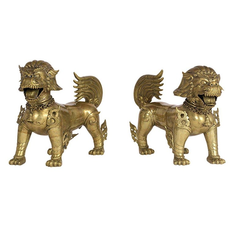 Pair of Chinese Standing Foo Dogs For Sale
