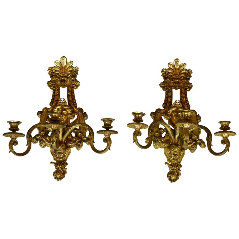 Pair of Empire Style Sconces For Sale