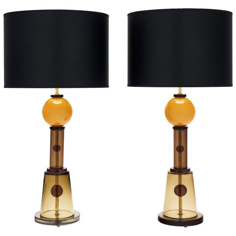 Geometric Caramel Murano Glass Lamps 1
