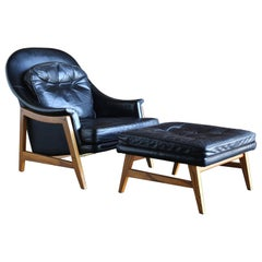 Edward Wormley Leather Lounge Chair and Ottoman for Dunbar, circa 1957