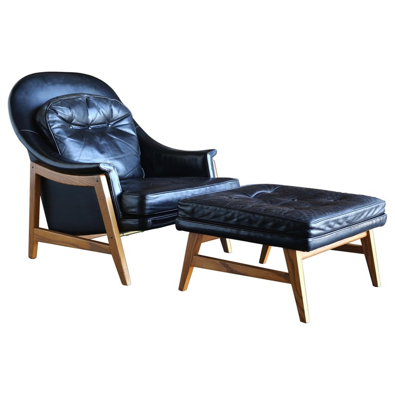 Edward Wormley Leather Lounge Chair and Ottoman for Dunbar, circa 1957 For Sale