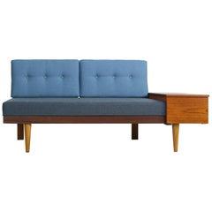 1950s Scandinavian Teak & Beechwood Daybed, Extendable Svane Møbler Norway Sofa