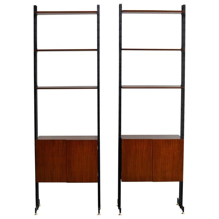 Pair of Italian Midcentury Teak and Metal Etagere Cabinets 1