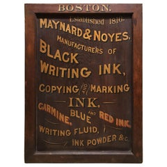 Maynard & Noyes Ink Company Wooden Advertising Trade Sign, Boston MA