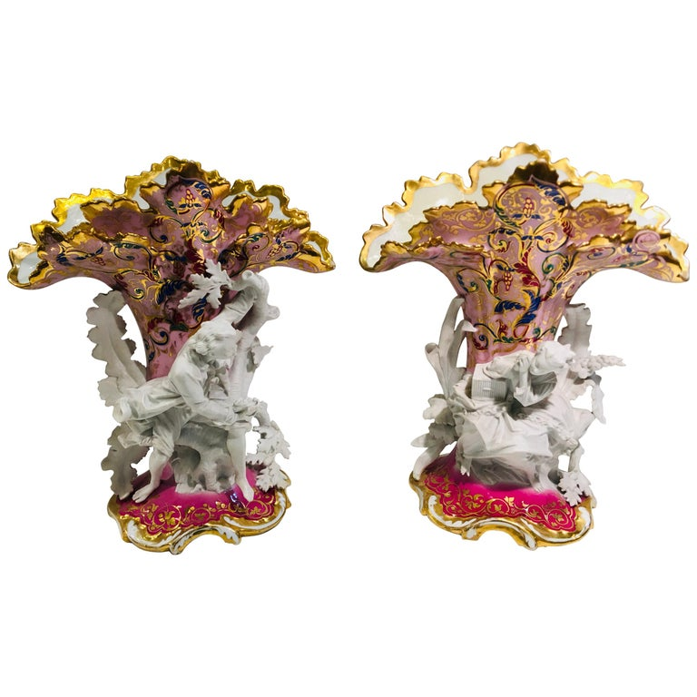 Elaborate Pair of French Old Paris Antique Porcelain and Bisque Rococo Vases For Sale