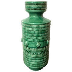 19th Century Tall Kelly Green Vase with a Crackle Finish Glaze