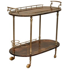 1950er Jahre Aldo Tura Pergament Bar Cart Trolley