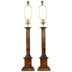 Pair of Column Form Table Lamps