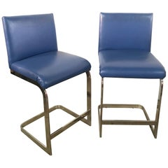 Pair of Milo Baughman Style Counter Stools in Blue Leather and Flat Bar Chrome