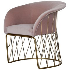 Upholstered Equipal Chair with Brass Frame by Pedro Ramírez Vázquez for Luteca