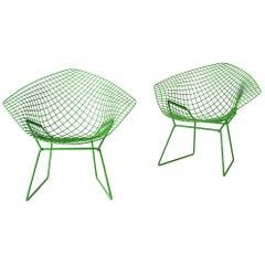 Custom Powder Coated Green Harry Bertoia Diamond Chairs for Knoll