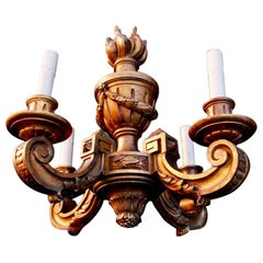 Elegant Small French Wood Chandelier