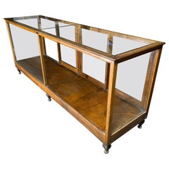 Early 20th Century A N Russel & Sons Wooden Glass Top Display Case Vitrine